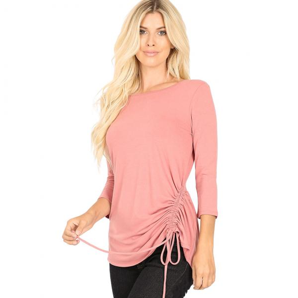 Wholesale Tops - 3/4 Sleeve Round Neck Side Ruched 1887 ASH ROSE 3/4 Sleeve Round Neck Side Ruched 1887 - Medium