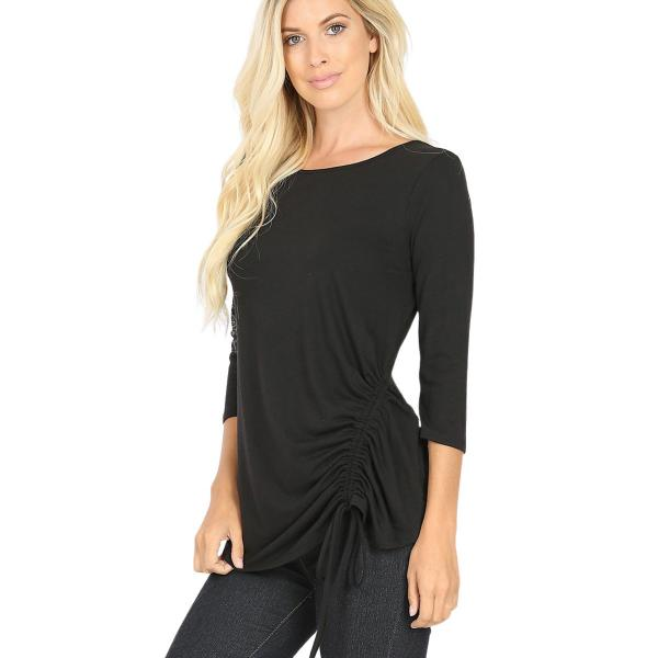 Wholesale Tops - 3/4 Sleeve Round Neck Side Ruched 1887 BLACK 3/4 Sleeve Round Neck Side Ruched 1887 - Medium