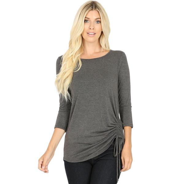 Wholesale Tops - 3/4 Sleeve Round Neck Side Ruched 1887 CHARCOAL 3/4 Sleeve Round Neck Side Ruched 1887 - Large