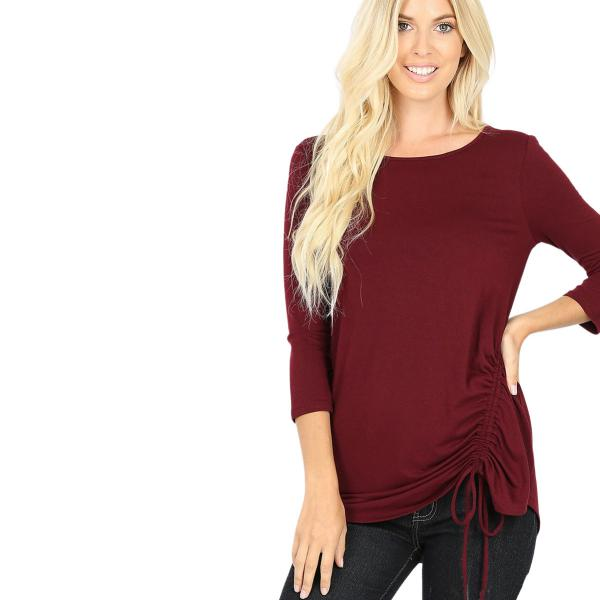 Wholesale Tops - 3/4 Sleeve Round Neck Side Ruched 1887 DARK BURGUNDY 3/4 Sleeve Round Neck Side Ruched 1887 - Large
