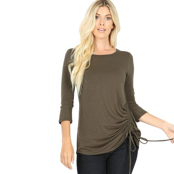 Wholesale Tops - 3/4 Sleeve Round Neck Side Ruched 1887 DARK OLIVE 3/4 Sleeve Round Neck Side Ruched 1887 - Medium
