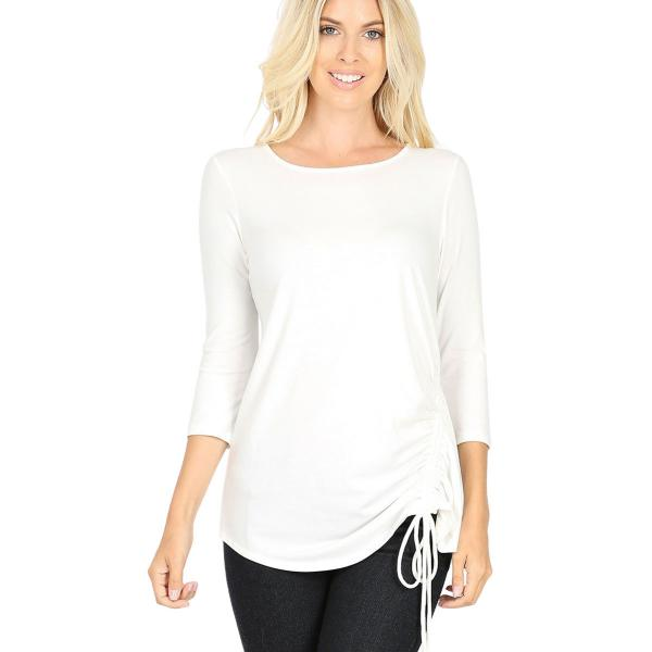 Wholesale Tops - 3/4 Sleeve Round Neck Side Ruched 1887 IVORY 3/4 Sleeve Round Neck Side Ruched 1887 - Medium