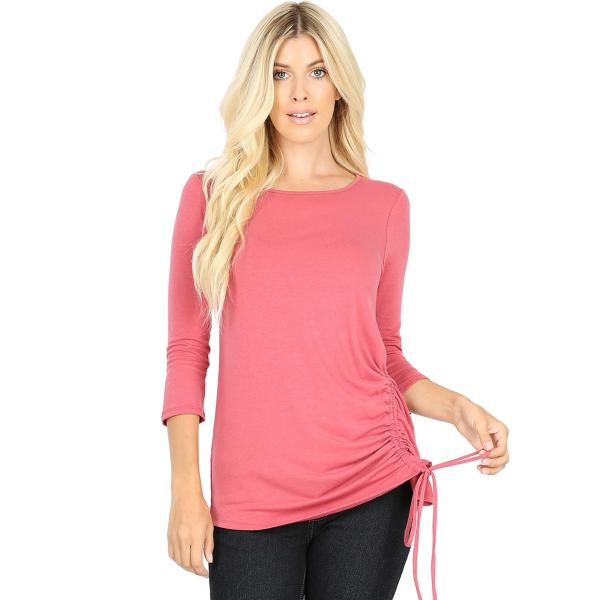 Wholesale Tops - 3/4 Sleeve Round Neck Side Ruched 1887 ROSE 3/4 Sleeve Round Neck Side Ruched 1887 - Large