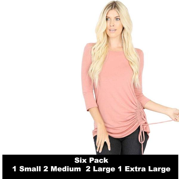 Wholesale Tops - 3/4 Sleeve Round Neck Side Ruched 1887  ASH ROSE SIX PACK 3/4 Sleeve Round Neck Side Ruched 1887 (1S/2M/2L/1XL) - 1 Small, 2 Medium, 2 Large, 1 Extra Large