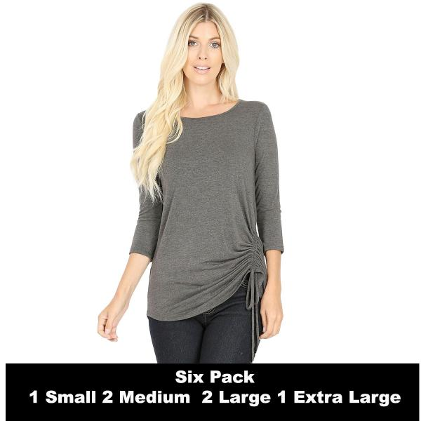 Wholesale Tops - 3/4 Sleeve Round Neck Side Ruched 1887  CHARCOAL SIX PACK 3/4 Sleeve Round Neck Side Ruched 1887 (1S/2M/2L/1XL) - 1 Small, 2 Medium, 2 Large, 1 Extra Large