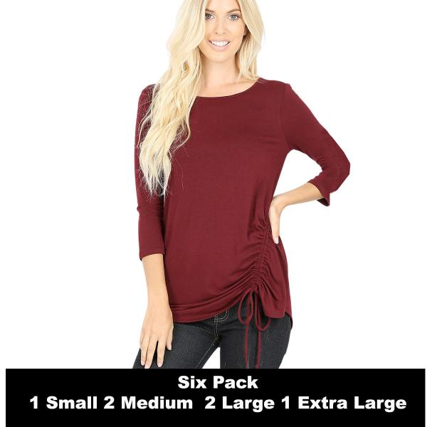 Wholesale Tops - 3/4 Sleeve Round Neck Side Ruched 1887  DARK BURGUNDY SIX PACK 3/4 Sleeve Round Neck Side Ruched 1887 (1S/2M/2L/1XL) - 1 Small, 2 Medium, 2 Large, 1 Extra Large