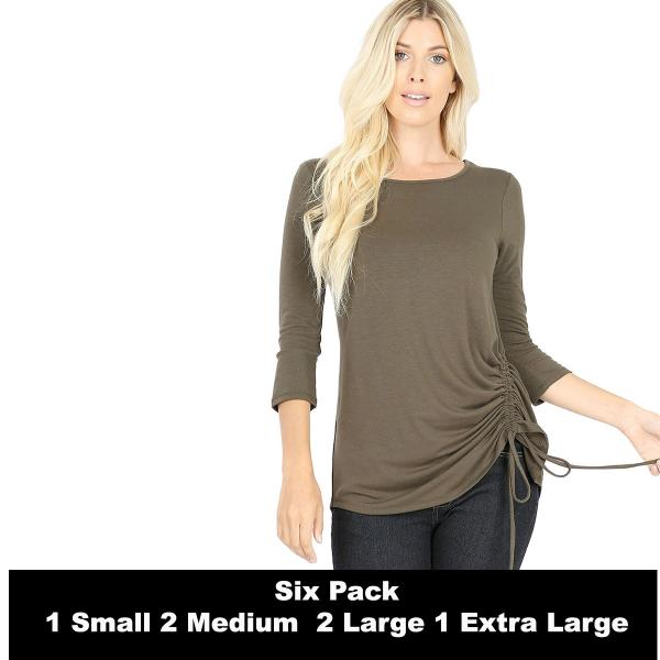 Wholesale Tops - 3/4 Sleeve Round Neck Side Ruched 1887  DARK OLIVE SIX PACK 3/4 Sleeve Round Neck Side Ruched 1887 (1S/2M/2L/1XL) - 1 Small, 2 Medium, 2 Large, 1 Extra Large