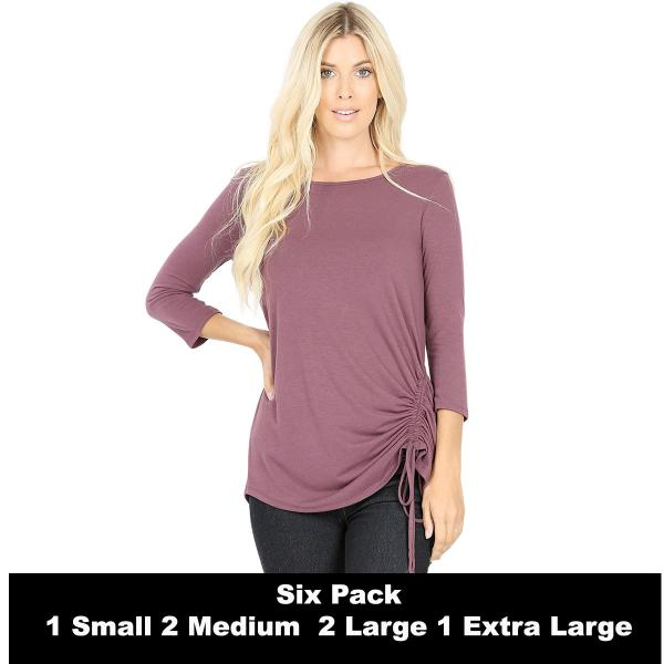 Wholesale Tops - 3/4 Sleeve Round Neck Side Ruched 1887  EGGPLANT SIX PACK 3/4 Sleeve Round Neck Side Ruched 1887 (1S/2M/2L/1XL) - 1 Small, 2 Medium, 2 Large, 1 Extra Large