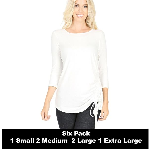 Wholesale Tops - 3/4 Sleeve Round Neck Side Ruched 1887  IVORY SIX PACK 3/4 Sleeve Round Neck Side Ruched 1887 (1S/2M/2L/1XL) - 1 Small, 2 Medium, 2 Large, 1 Extra Large