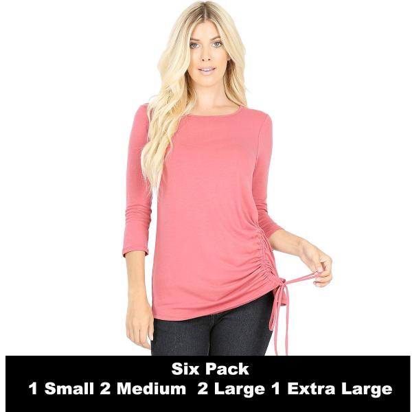 Wholesale Tops - 3/4 Sleeve Round Neck Side Ruched 1887  ROSE SIX PACK 3/4 Sleeve Round Neck Side Ruched 1887 (1S/2M/2L/1XL) - 1 Small, 2 Medium, 2 Large, 1 Extra Large