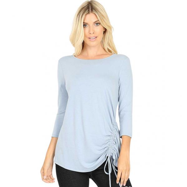 Wholesale Tops - 3/4 Sleeve Round Neck Side Ruched 1887 ASH BLUE 3/4 Sleeve Round Neck Side Ruched 1887 - Medium