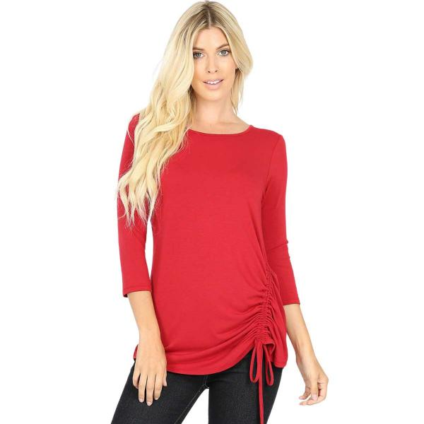 Wholesale Tops - 3/4 Sleeve Round Neck Side Ruched 1887 DARK RED 3/4 Sleeve Round Neck Side Ruched 1887 - Medium