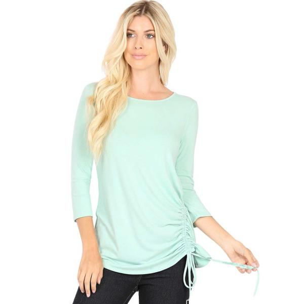 Wholesale Tops - 3/4 Sleeve Round Neck Side Ruched 1887 DUSTY MINT 3/4 Sleeve Round Neck Side Ruched 1887 - Small