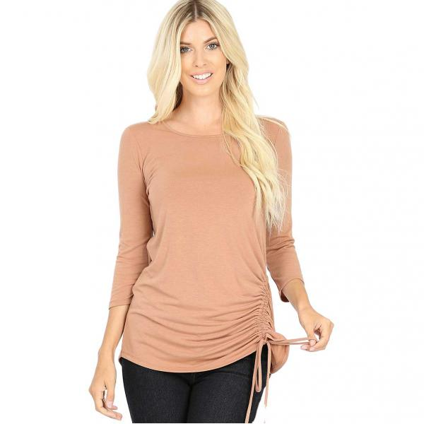 Wholesale Tops - 3/4 Sleeve Round Neck Side Ruched 1887 EGG SHELL 3/4 Sleeve Round Neck Side Ruched 1887 - Large