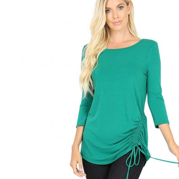 Wholesale Tops - 3/4 Sleeve Round Neck Side Ruched 1887 FOREST 3/4 Sleeve Round Neck Side Ruched 1887 - X-Large