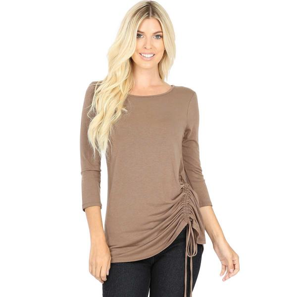 Wholesale Tops - 3/4 Sleeve Round Neck Side Ruched 1887 MOCHA 3/4 Sleeve Round Neck Side Ruched 1887 - Large