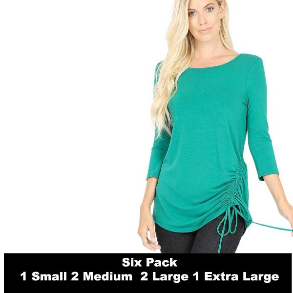 Wholesale Tops - 3/4 Sleeve Round Neck Side Ruched 1887  FOREST GREEN SIX PACK 3/4 Sleeve Round Neck Side Ruched 1887 (1S/2M/2L/1XL) - 1 Small, 2 Medium, 2 Large, 1 Extra Large