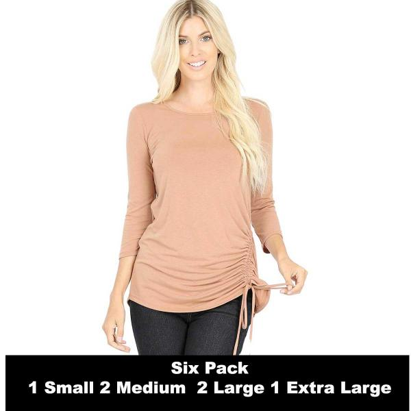 Wholesale Tops - 3/4 Sleeve Round Neck Side Ruched 1887  EGG SHELL SIX PACK 3/4 Sleeve Round Neck Side Ruched 1887 (1S/2M/2L/1XL) - 1 Small, 2 Medium, 2 Large, 1 Extra Large