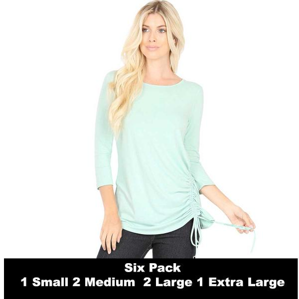 Wholesale Tops - 3/4 Sleeve Round Neck Side Ruched 1887  DUSTY MINT SIX PACK 3/4 Sleeve Round Neck Side Ruched 1887 (1S/2M/2L/1XL) - 1 Small, 2 Medium, 2 Large, 1 Extra Large