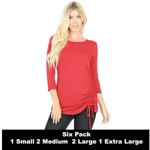 Wholesale Tops - 3/4 Sleeve Round Neck Side Ruched 1887  DARK RED SIX PACK 3/4 Sleeve Round Neck Side Ruched 1887 (1S/2M/2L/1XL) - 1 Small, 2 Medium, 2 Large, 1 Extra Large