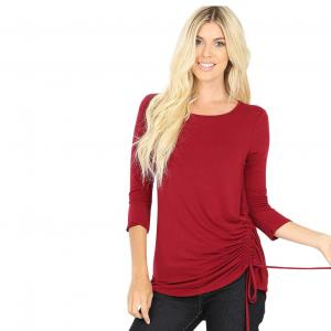 Wholesale  CABERNET 3/4 Sleeve Round Neck Side Ruched 1887 - Medium