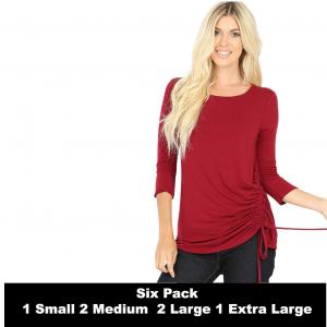 Wholesale   CABERNET SIX PACK 3/4 Sleeve Round Neck Side Ruched 1887 (1S/2M/2L/1XL) - 1 Small, 2 Medium, 2 Large, 1 Extra Large