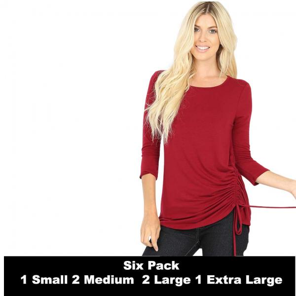 Wholesale Tops - 3/4 Sleeve Round Neck Side Ruched 1887  CABERNET SIX PACK 3/4 Sleeve Round Neck Side Ruched 1887 (1S/2M/2L/1XL) - 1 Small, 2 Medium, 2 Large, 1 Extra Large