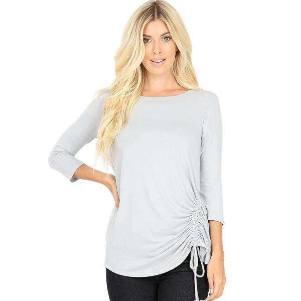 Wholesale Tops - 3/4 Sleeve Round Neck Side Ruched 1887 LIGHT GREY 3/4 Sleeve Round Neck Side Ruched 1887 - Small