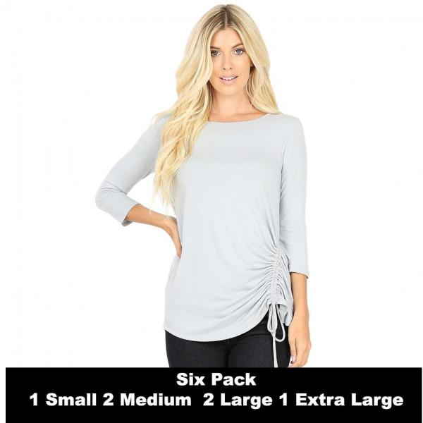 Wholesale Tops - 3/4 Sleeve Round Neck Side Ruched 1887  LIGHT GREY SIX PACK 3/4 Sleeve Round Neck Side Ruched 1887 (1S/2M/2L/1XL) - 1 Small, 2 Medium, 2 Large, 1 Extra Large
