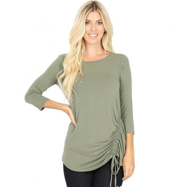 Wholesale Tops - 3/4 Sleeve Round Neck Side Ruched 1887 LIGHT OLIVE 3/4 Sleeve Round Neck Side Ruched 1887 - Large