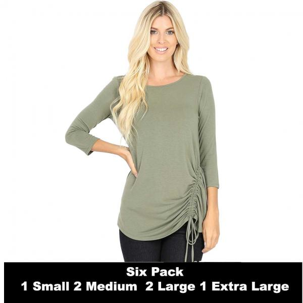 Wholesale Tops - 3/4 Sleeve Round Neck Side Ruched 1887  LIGHT OLIVE SIX PACK 3/4 Sleeve Round Neck Side Ruched 1887 (1S/2M/2L/1XL) - 1 Small, 2 Medium, 2 Large, 1 Extra Large