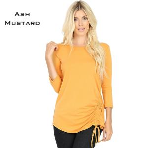 Wholesale  ASH MUSTARD 3/4 Sleeve Round Neck Side Ruched 1887 - Small