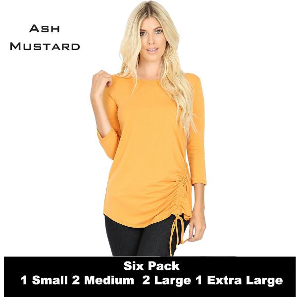 Wholesale Tops - 3/4 Sleeve Round Neck Side Ruched 1887  ASH MUSTARD (SIX PACK) 3/4 Sleeve Round Neck Side Ruched 1887 (1S,2M,2L,1XL) - 1 Small, 2 Medium, 2 Large, 1 Extra Large