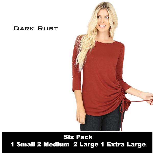 Wholesale Tops - 3/4 Sleeve Round Neck Side Ruched 1887  DARK RUST (SIX PACK) 3/4 Sleeve Round Neck Side Ruched 1887 (1S,2M,2L,1XL) - 1 Small, 2 Medium, 2 Large, 1 Extra Large