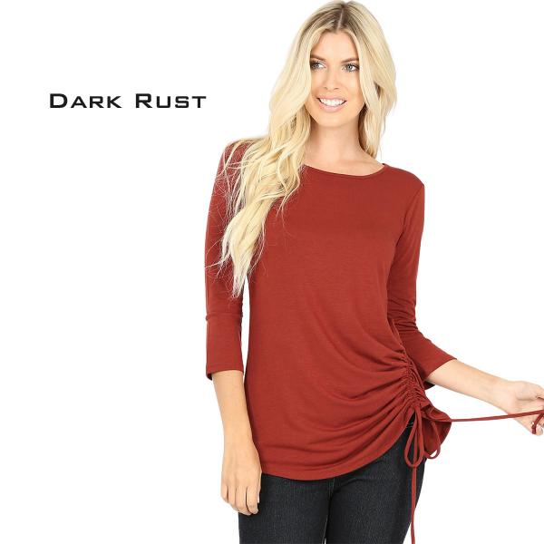Wholesale Tops - 3/4 Sleeve Round Neck Side Ruched 1887 DARK RUST 3/4 Sleeve Round Neck Side Ruched 1887 - Small