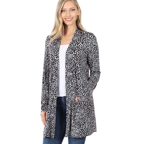 Wholesale Slouchy Pocket Open Cardigan Prints 320 and 900 GREY LEOPARD Slouchy Pocket Open Cardigan 320 - Small