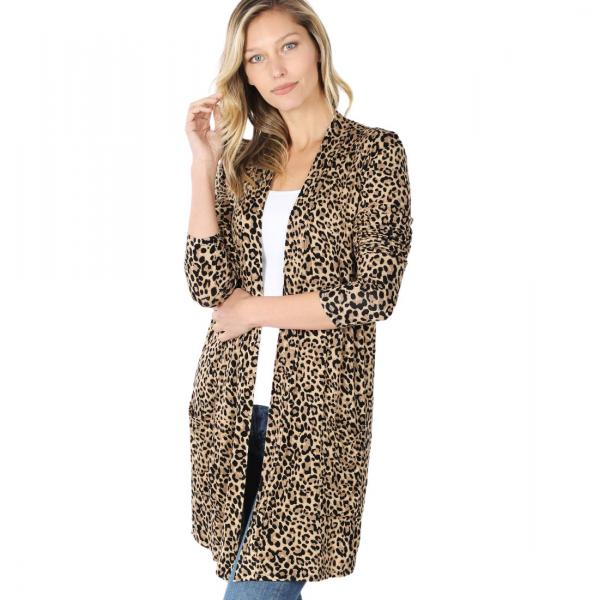 Wholesale Slouchy Pocket Open Cardigan Prints 320 and 900 CAMEL LEOPARD Slouchy Pocket Open Cardigan 320 - Large