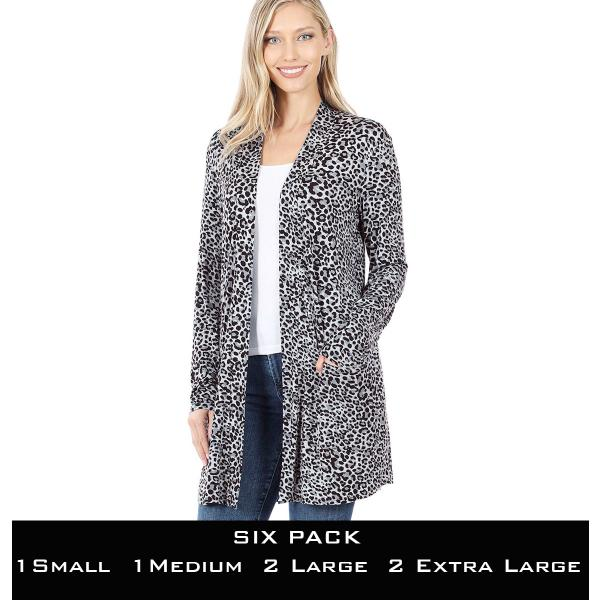 Wholesale Slouchy Pocket Open Cardigan Prints 320 and 900  GREY LEOPARD SIX PACK Slouchy Pocket Open Cardigan 320 - 1 Small 1 Medium 2 Large 2 Extra Large