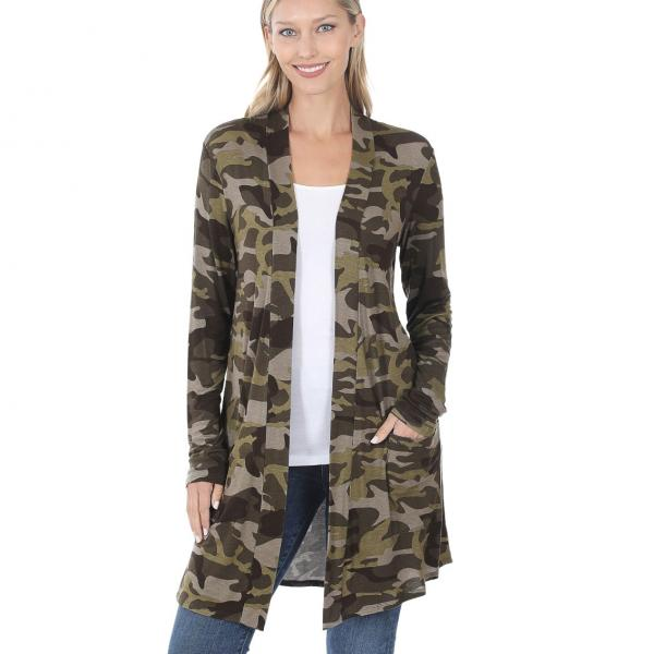 Wholesale Slouchy Pocket Open Cardigan Prints 320 and 900 ARMY CAMO Slouchy Pocket Open Cardigan 320 - Large