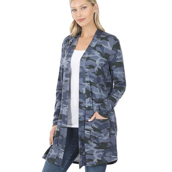 Wholesale Slouchy Pocket Open Cardigan Prints 320 and 900 NAVY CAMO Slouchy Pocket Open Cardigan 320 - Small