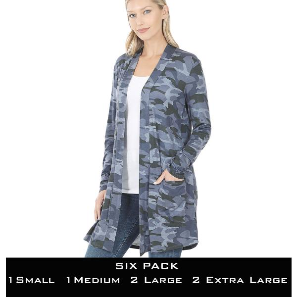 Wholesale Slouchy Pocket Open Cardigan Prints 320 and 900  NAVY CAMO SIX PACK Slouchy Pocket Open Cardigan 320 - 1 Small 1 Medium 2 Large 2 Extra Large