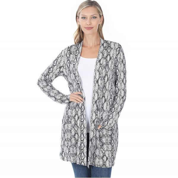 Wholesale Slouchy Pocket Open Cardigan Prints 320 and 900 SNAKE PRINT BLACK Slouchy Pocket Open Cardigan 320 - Small