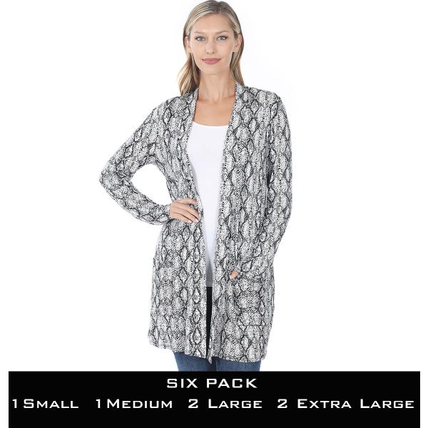 Wholesale Slouchy Pocket Open Cardigan Prints 320 and 900  SNAKE PRINT BLACK SIX PACK Slouchy Open Cardigan 320 - 1 Small 1 Medium 2 Large 2 Extra Large