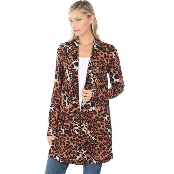 Wholesale Slouchy Pocket Open Cardigan Prints 320 and 900 MIXED LEOPARD Slouchy Pocket Open Cardigan 320 - Small