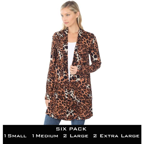 Wholesale Slouchy Pocket Open Cardigan Prints 320 and 900 MIXED LEOPARD SIX PACK Slouchy Pocket Cardigan 320 - 1 Small 1 Medium 2 Large 2 Extra Large