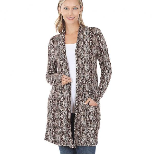Wholesale Slouchy Pocket Open Cardigan Prints 320 and 900 SNAKE PRINT BROWN Slouchy Pocket Open Cardigan 320 - Medium