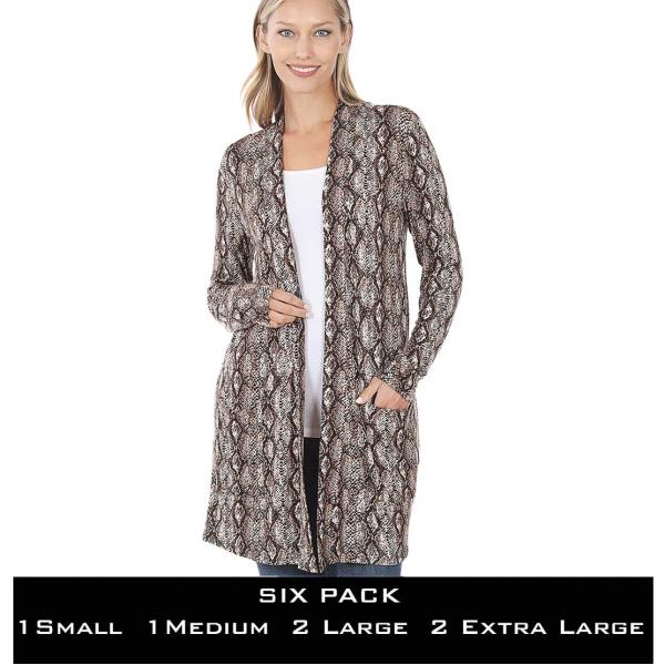 Wholesale Slouchy Pocket Open Cardigan Prints 320 and 900  SNAKE PRINT BROWN SIX PACK Slouchy Open Cardigan 320 - 1 Small 1 Medium 2 Large 2 Extra Large