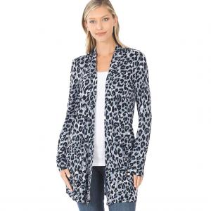Wholesale  MIXED GREY LEOPARD Slouchy Pocket Open Cardigan 320 - Small