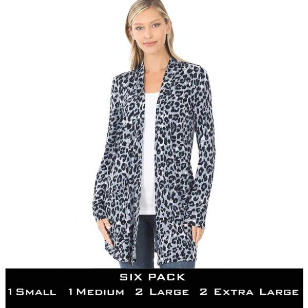 Wholesale Slouchy Pocket Open Cardigan Prints 320 and 900 MIXED GREY LEOPARD SIX PACK Slouchy Pocket Opdigan 320 - 1 Small 1 Medium 2 Large 2 Extra Large