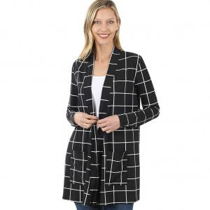 Wholesale  BLACK/IVORY WINDOWPANE Slouchy Pocket Open Cardigan 9007 - Small